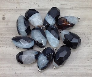 Black Agate w/ Quartz Faceted Teardrop Pendant