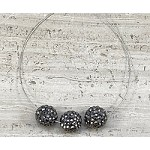 Black 9-9.5mm Round Pave Bead