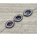 Amethyst 13-14 x 19-20mm Oval Pave Bead