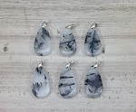 Black Rutilated Quartz 21x40mm Teardrop Pendant