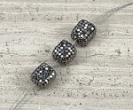 Black 10-11 x 10-11 mm Cube Pave Bead