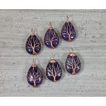Amethyst Teardrop Copper Wired Tree of Life Pendant