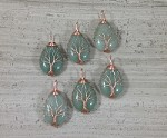 Green Aventurine Teardrop Copper Wired Tree of Life Pendant