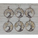 Citrine Chips Round Pendant Oxidized Copper Wired Tree of Life