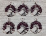 Garnet Chips Round Pendant Oxidized Copper Wired Tree of Life