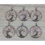Rose Quartz Chips Round Pendant Oxidized Copper Wired Tree of Life