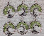 Peridot Chips Round Pendant Oxidized Copper Wired Tree of Life