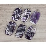 Dog Tooth Amethyst aka Chevron Amethyst Rectangle Pendant